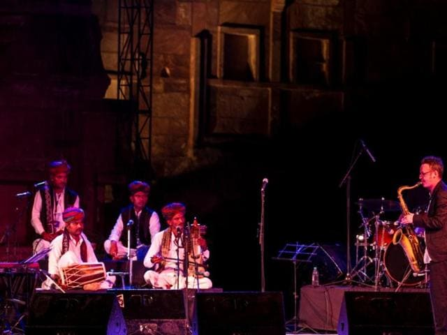 Scottish saxophonist and composer Brian Moliey performing with Rajasthani artists at RIFF.