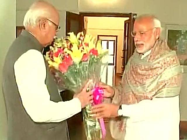 Prime Minister Narendra Modi with senior BJP leader LK Advani.