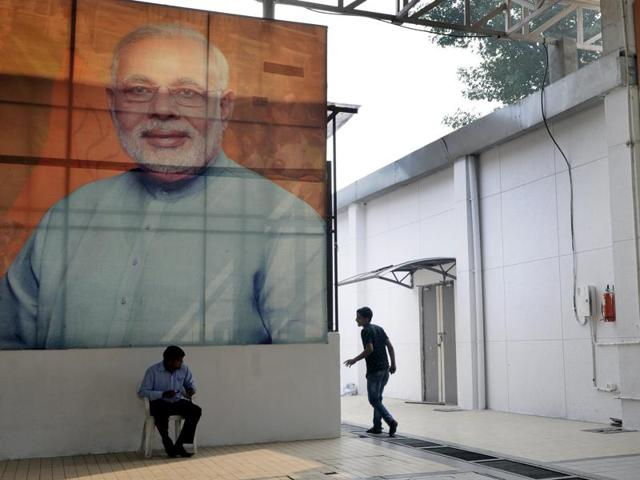 BJP headquarter looks desolate as results of the Bihar state Assembly elections were announced, in New Delhi.