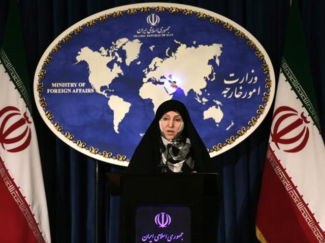 A file picture taken on November 5, 2013 shows Iranian foreign ministry spokesperson, Marzieh Afkham speaking to the media during the weekly press conference in Tehran.