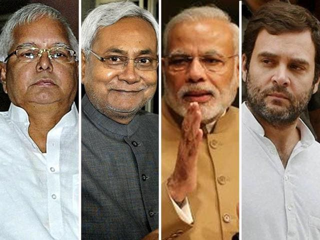 (From Left) The fates of Lalu Prasad, Nitish Kumar, Narendra Modi and Rahul Gandhi after Bihar election results.