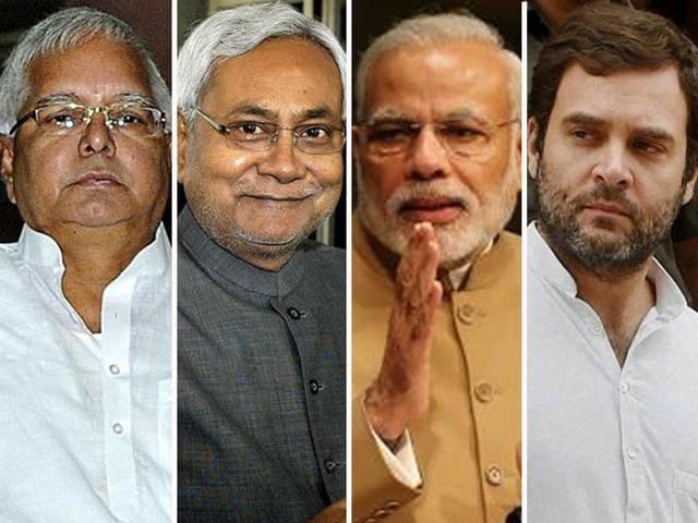 (From Left) The fates of Lalu Prasad, Nitish Kumar, Narendra Modi and Rahul Gandhi after Bihar election results.