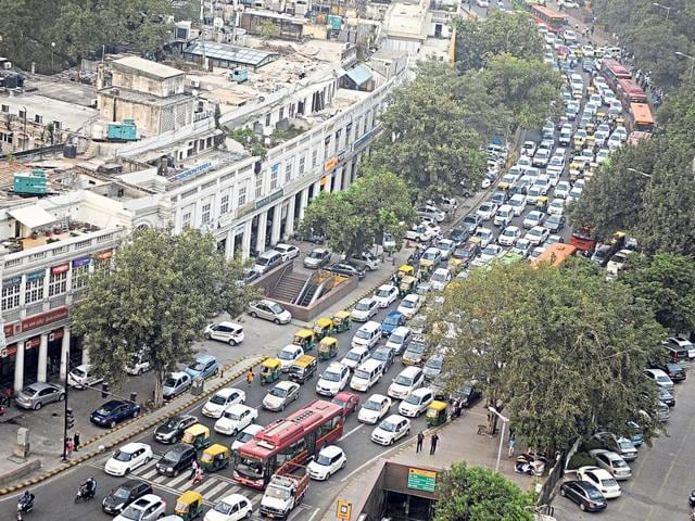 The entire outer circle at Connaught Place remained clogged with traffic throughout Monday.
