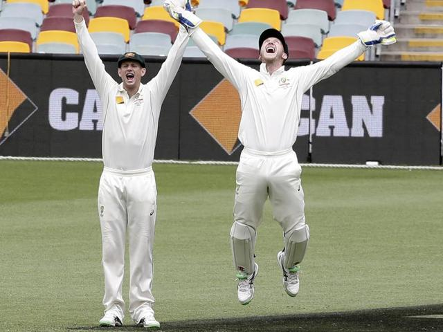New Zealand captain Brendon McCullum walks off the field after Australian bowler Mitchell Marsh claimed his wicket during the fifth day of the first Test at the Gabba in Brisbane on November 9, 2015.