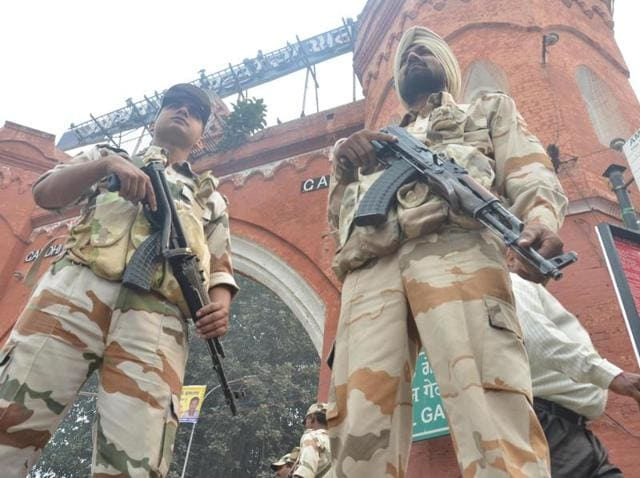ITBP jawans stand guard at Hall Gate in Amritsar on the eve of Sarbat Khalsa on Monday.