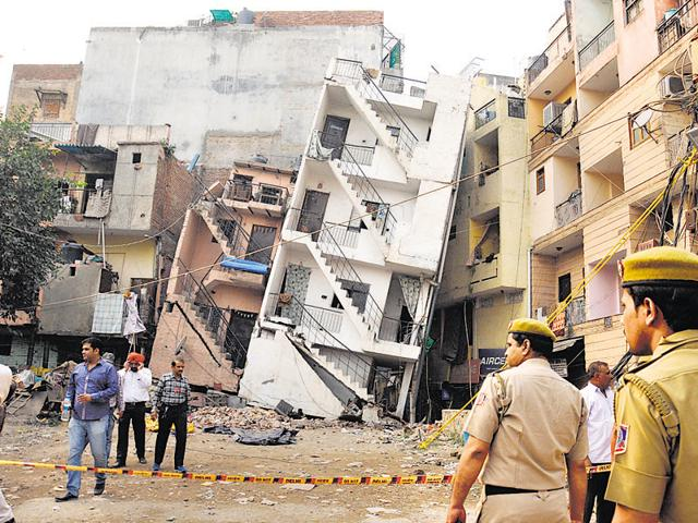 Occupants of the collapsed building vacated the premises after more cracks appeared in the aftermath of the October earthquake.