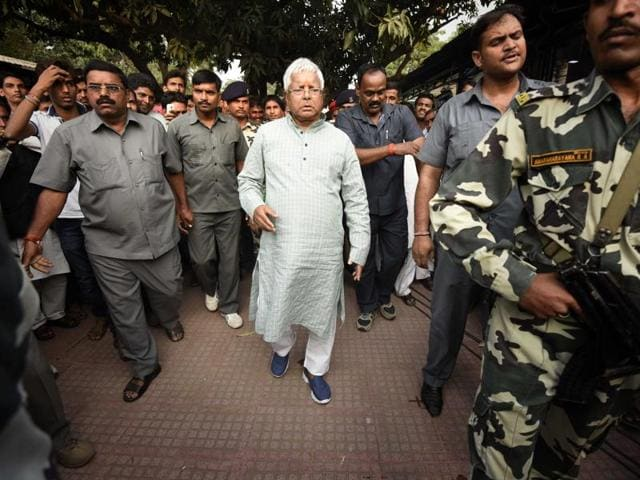 Lalu Prasad Yadav after results of the Bihar elections in Patna were declared on Sunday.