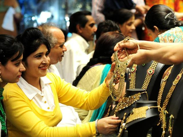 Women buying jewellery on the occasion of Dhanteras ata  jewellery store in Sector 22, Chandigarh.