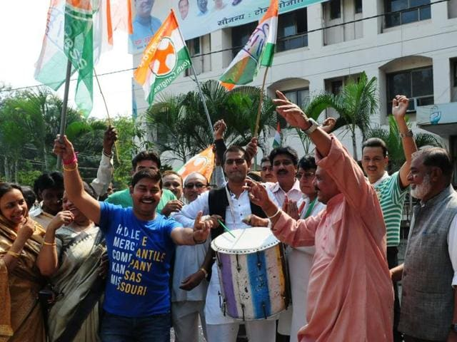 Bhopal, India - Nov. 8, 2015:Congress workers celebrating Grand Alliance`s victory in Bihar assembly elections in Bhopal, India, on Sunday, November 8, 2015. (Photo by Mujeeb Faruqui/ Hindustan Times)