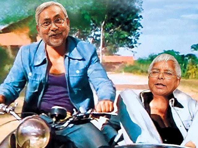 RJD Chief Lalu Prasad Yadav and Nitish Kumar after the results of the Bihar Assembly elections in Patna.
