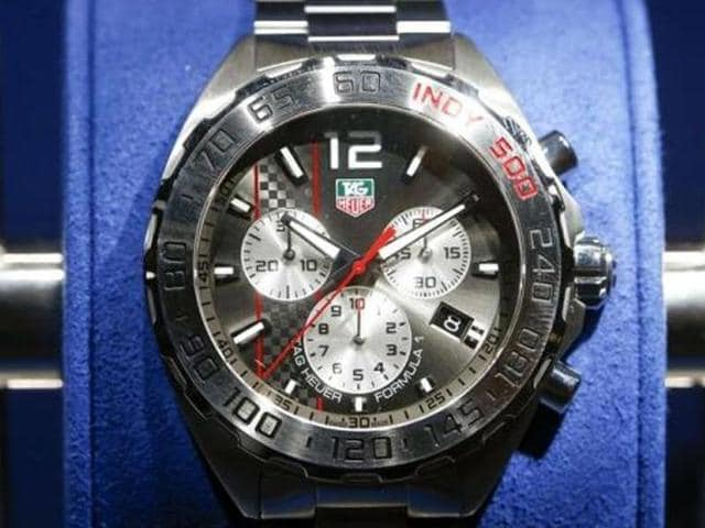 A Formula 1 watch of Swiss watch manufacturer TAG Heuer is displayed at Baselworld fair in Basel.