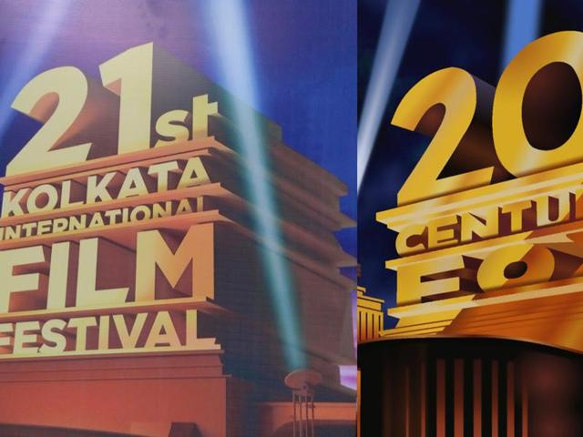 The text in the logo which says 20th Century Fox has been replaced by 21st Kolkata International Film Festival.