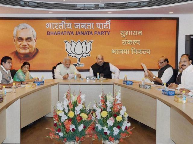 Prime Minister Narendra Modi, BJP president Amit Shah, Sushma Swaraj, Nitin Gadkari, Venkaiah Naidu and Rajnath Singh at the party's parliamentary board meeting in New Delhi on Monday.