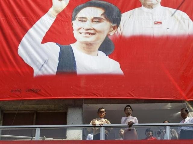 Myanmar's National League for Democracy party leader Aung San Suu Kyi speaks to supporters about the general elections in Yangon, Myanmar.