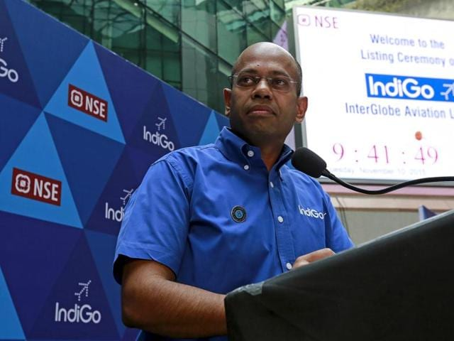 President of InterGlobe Aviation Limited Aditya Ghosh speaks during the company's listing ceremony at the National Stock Exchange (NSE) in Mumbai, India.