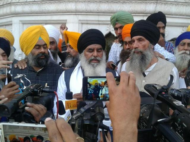 Radicals' acting jathedar giving parallel 'sandesh' to Sikh community at the Akal Takht  in Amritsar.