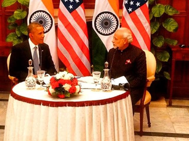 A file photo shows Prime Minister Narendra Modi with US President  Barack Obama.