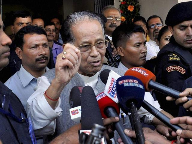 Assam Chief Minster Tarun Gogoi interacting with the media regarding the United Liberation Front of Assam (ULFA) General secretary Anup Chetia's extradition, in Guwahati on Thursday.