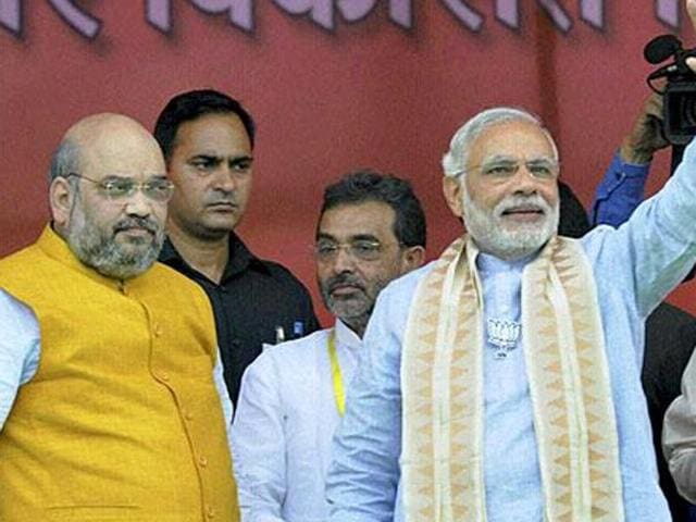 File photo of Prime Minister Narendra Modi with BJP president Amit Shah at an election rally in Bihar.