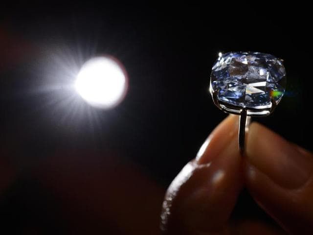 """The vivid diamond, described as flawless by experts, was bought by a private collector from Hong Kong, who immediately renamed it """"The Blue Moon of Josephine""""."""