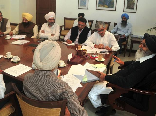 Punjab chief minister Parkash Singh Badal during a meeting in Chandigarh on Friday.