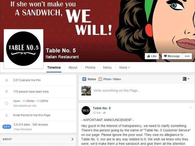 """The cover photo on the Facebook page of Table No. 5   with the tagline """"if she won't make you a sandwich we will""""."""