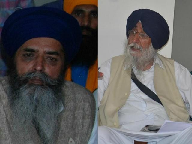 United Akali Dal chief Mohkam Singh (left) and Amritsar SAD chief Simranjit Singh Mann (right)(HT Photo)