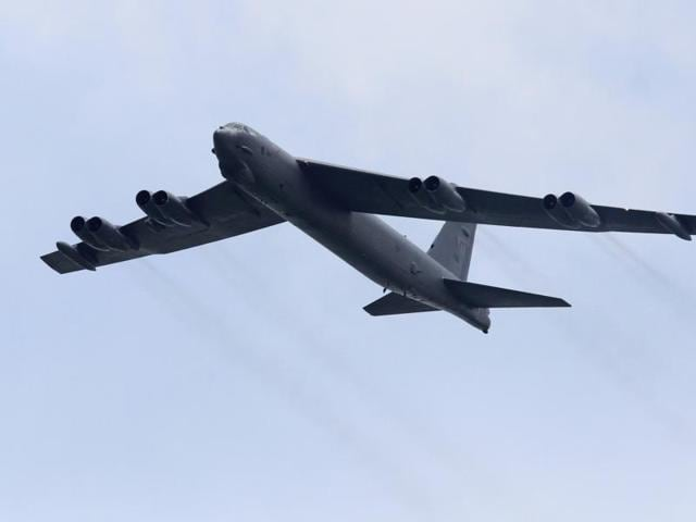 """We conduct B-52 flights in international air space in that part of the world all the time,"" Pentagon spokesman Peter Cook told a news briefing earlier on Thursday.File photo of a US Air Force Boeing B-52 Stratofortress strategic bomber."
