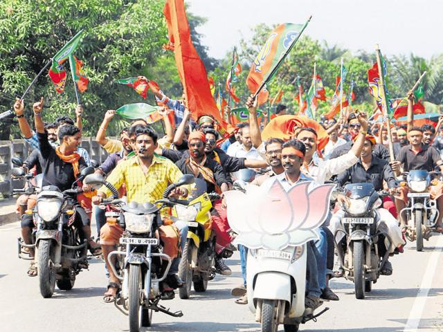 BJP workers celebrate their party's win in panchayat elections in Kozhikode. The upcoming assembly polls in Kerala is the best opportunity for the BJP to open its account in the state.
