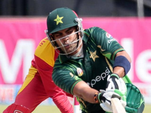 Pakistan batsman Umar Akmal in action during the first of two T20 cricket matches between Pakistan and hosts Zimbabwe at the Harare Sports Club.