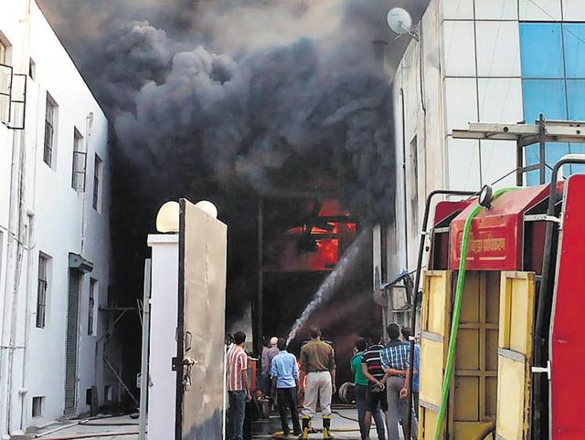 Two flats in Assotech Springfields Apartments in Sector Zeta 1 were damaged in a fire, allegedly caused due to a short-circuit, on Thursday.