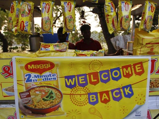 Packets of Maggi noodles hang on display at a roadside stall in Ahmadabad.