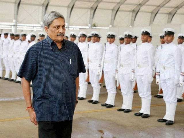 Union minister for defence Manohar Parrikar inspects the Guard of Honour during the Induction ceremony of P8i Boeing aircraft Sqn, at INS Rajali in Arakkonam on Friday.