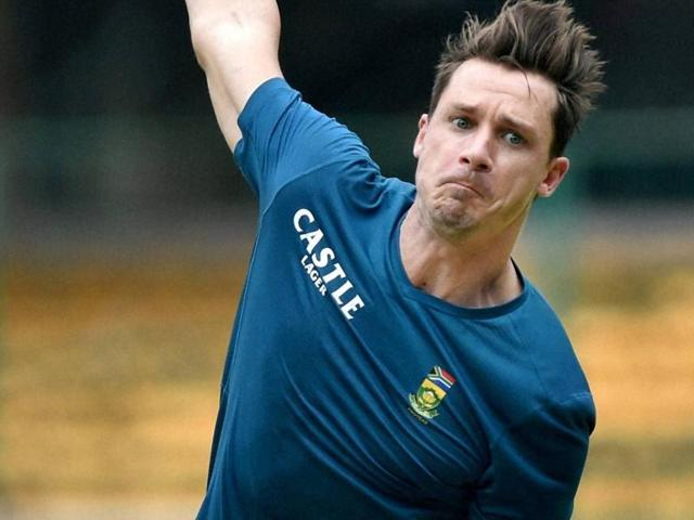 South Africa's Dale Steyn bowling in the nets ahead of the second Test match against India in Bangalore, on November 12, 2015.