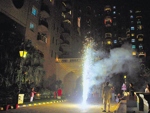 Most residents in New Gurgaon condominiums preferred a quiet Diwali, while a few at Hamilton Court in DLF Phase 4 burst firecrackers.