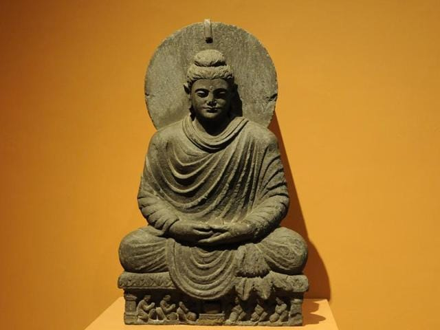 Buddha in meditation. Buddhist Art exhibition is up for viewing at National Museum in New Delhi, India, on Tuesday, November 10, 2015.