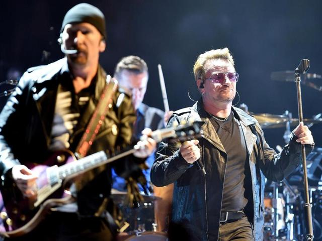 A file photo of U2 performing in Turin, Italy, in September.