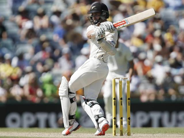 New Zealand's Kane Williamson plays a hook shot against Australia during the Test match in Perth on November 14, 2015.