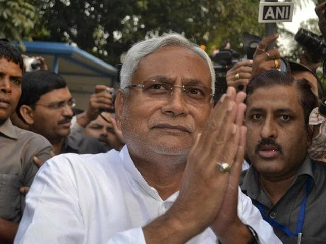 File photo of Bihar Chief Minister Nitish  Kumar. Kumar submitted his resignation to the governor on Saturday, November 14, 2015, after the Bihar cabinet decided to recommend the dissolution of outgoing assembly.
