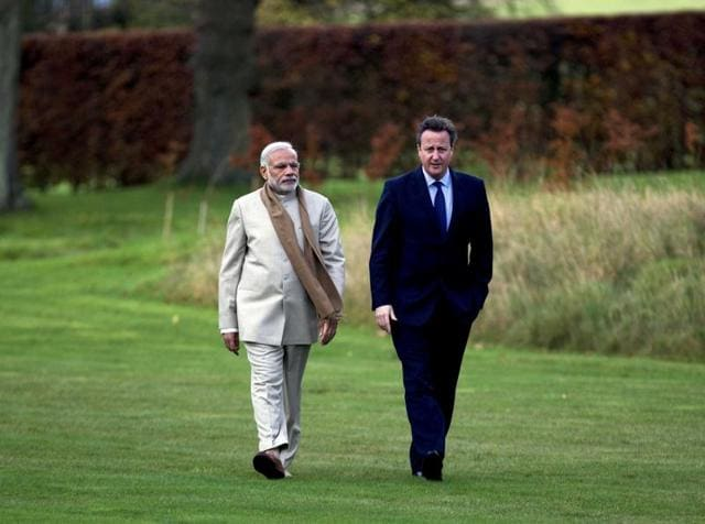 Prime Minister Narendra Modi with his British counterpart David Cameron at Chequers in Buckinghamshire.