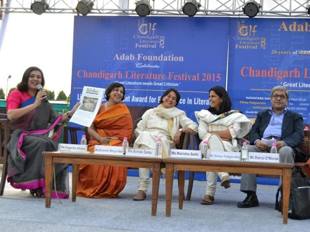 Panellists participating in a session at the fourth edition of the Chandigarh Literature Festival.