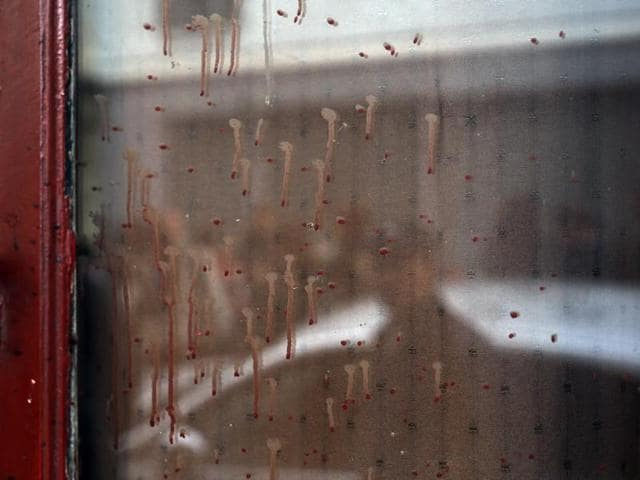 Dried blood can be seen on the window of the Carillon cafe in Paris, a day after over 120 people were killed in a series of shooting and explosions.