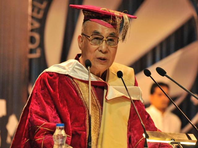 Nobel Prize winner the Dalai Lama delivering an address during the fifth convocation of Lovely Professional University near Jalandhar on Saturday.