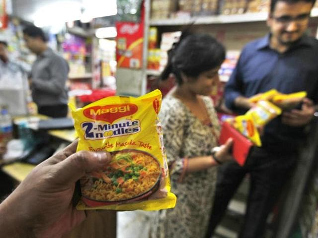 People buy Maggi as sales of the noodles resumed after five months of ban.