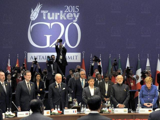 Prime Minister Narendra Modi at the G20 Summit working session on inclusive growth in Antalya, Turkey.