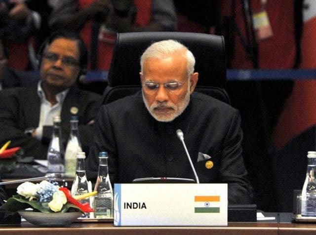 Prime Minister Narendra Modi at the G20 Summit working session on inclusive growth, in Antalya, Turkey on Sunday.