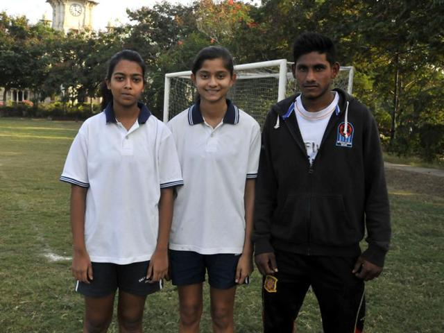 Abhipriya Verma, Mrinalini and Akash Rai in one of the warm-up sessions, at Daly College in Indore.