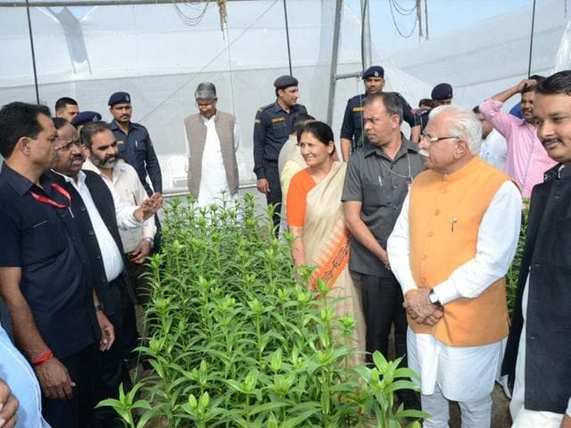 Chief minister Manohar Lal Khattar interacting with agriculture experts in a polyhouse in Sonepat on Sunday.