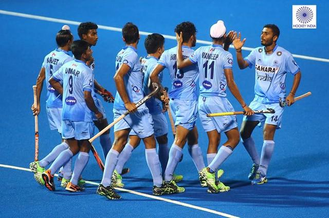 The Indian junior men's hockey team after defeating Japan in the first game of the 8th Junior Men's Asia Cup hockey in Kuantan, Malaysia, on November 14, 2015.
