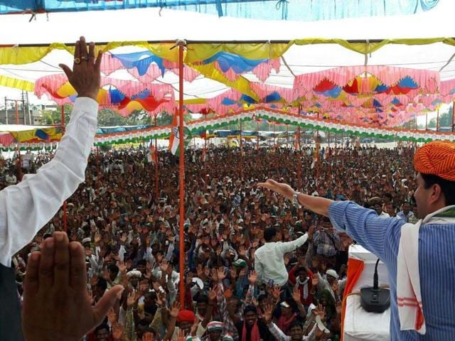 Congress MP Jyotiraditya Scindia addresses an election rally in support of party's candidate Kantilal Bhuria for Jhabua-Ratlam Lok Sabha by-election in Petlawad on Saturday.